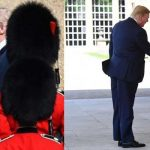 Trump meets troops in bearskin caps