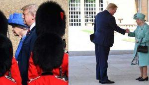 Trump meets troops in bearskin caps