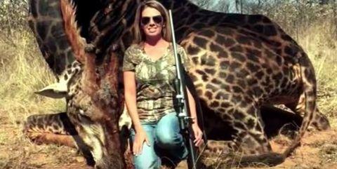 Tess Tally and the black giraffe she killed