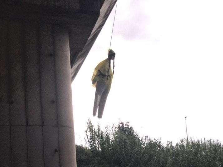 Hanging effigy of Greta Thurberg