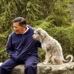 Older man with dog companion