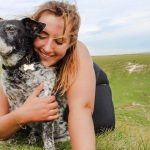 Spillo a lost dog with his owner Laura Bierer-Nielsen