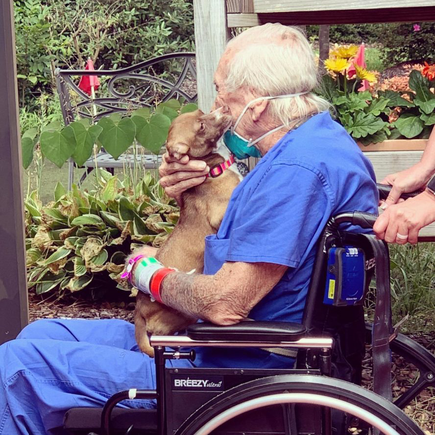 Rudy and Bubu in the hospital's rehabilitation garden