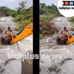 Heroic dog rescue from bank of swollen river in Telangana state in India using a JCB digger
