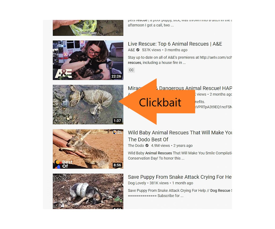 Clickbait image icons on YouTube