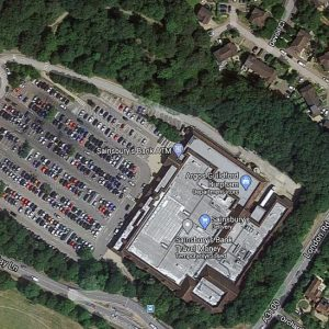 Sainsbury's Guildford surrounded by woodland were there are hedgehogs