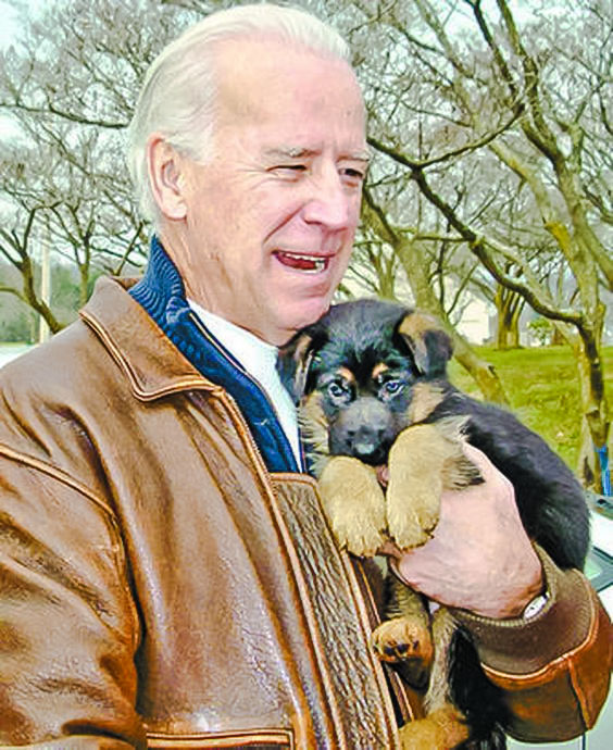 Joe Biden with one of his dogs