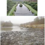 Lake before and after it was drained
