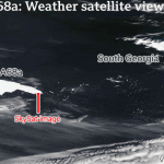 A68a iceberg approaches South Georgia on 0.5 mph current